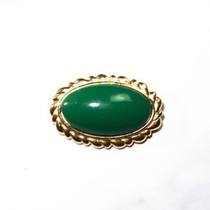 Vintage Monet Jewelry Gold Tone & Green Brooch Pin